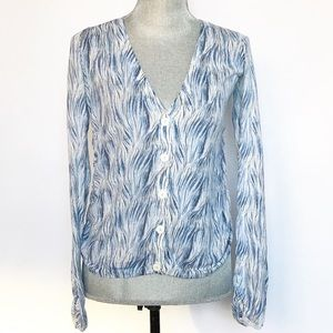 Anthropologie Guinevere Blue Ruched Cardigan SZ S